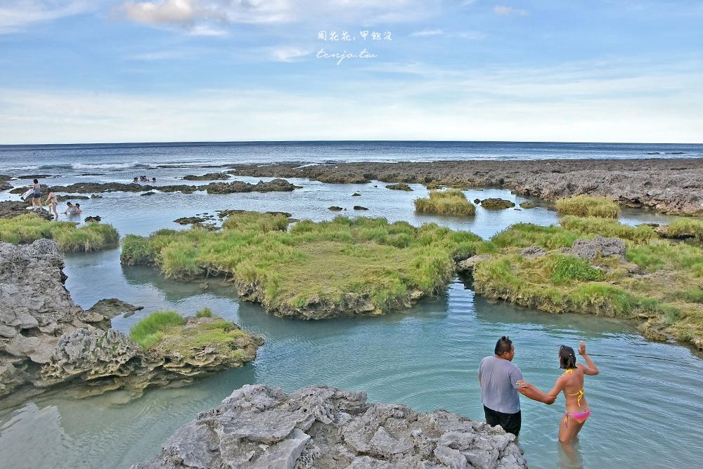 【蘭嶼景點】野銀冷泉 海水淡水交會處的藍綠漸層之美,蘭嶼消暑玩水親子景點推薦 @周花花,甲飽沒
